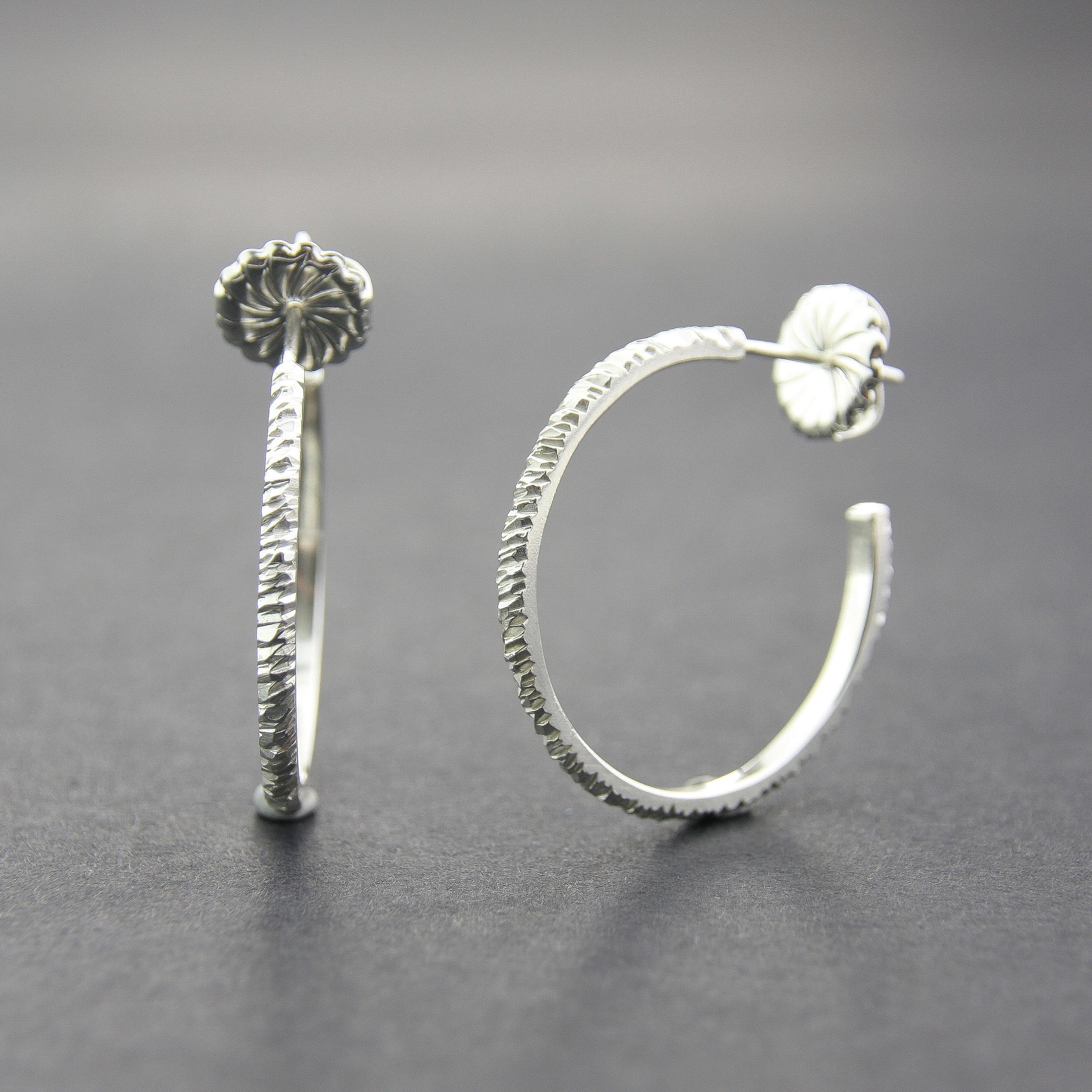 Leonie Simpson Jewellery Mini Facet Hoop Earrings 30mm sterling silver