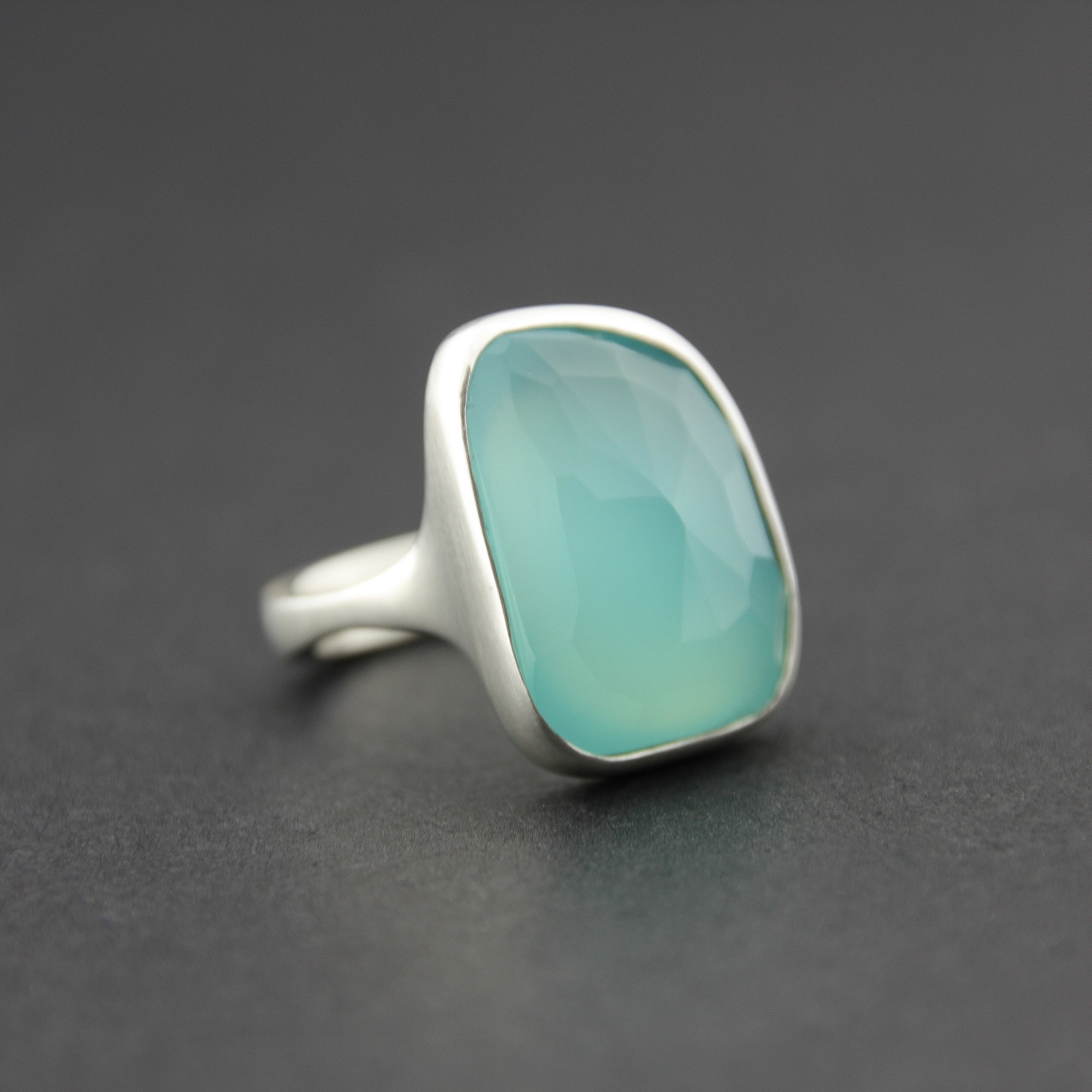 Leonie Simpson Jewellery rose cut chalcedony stone set ring sterling silver