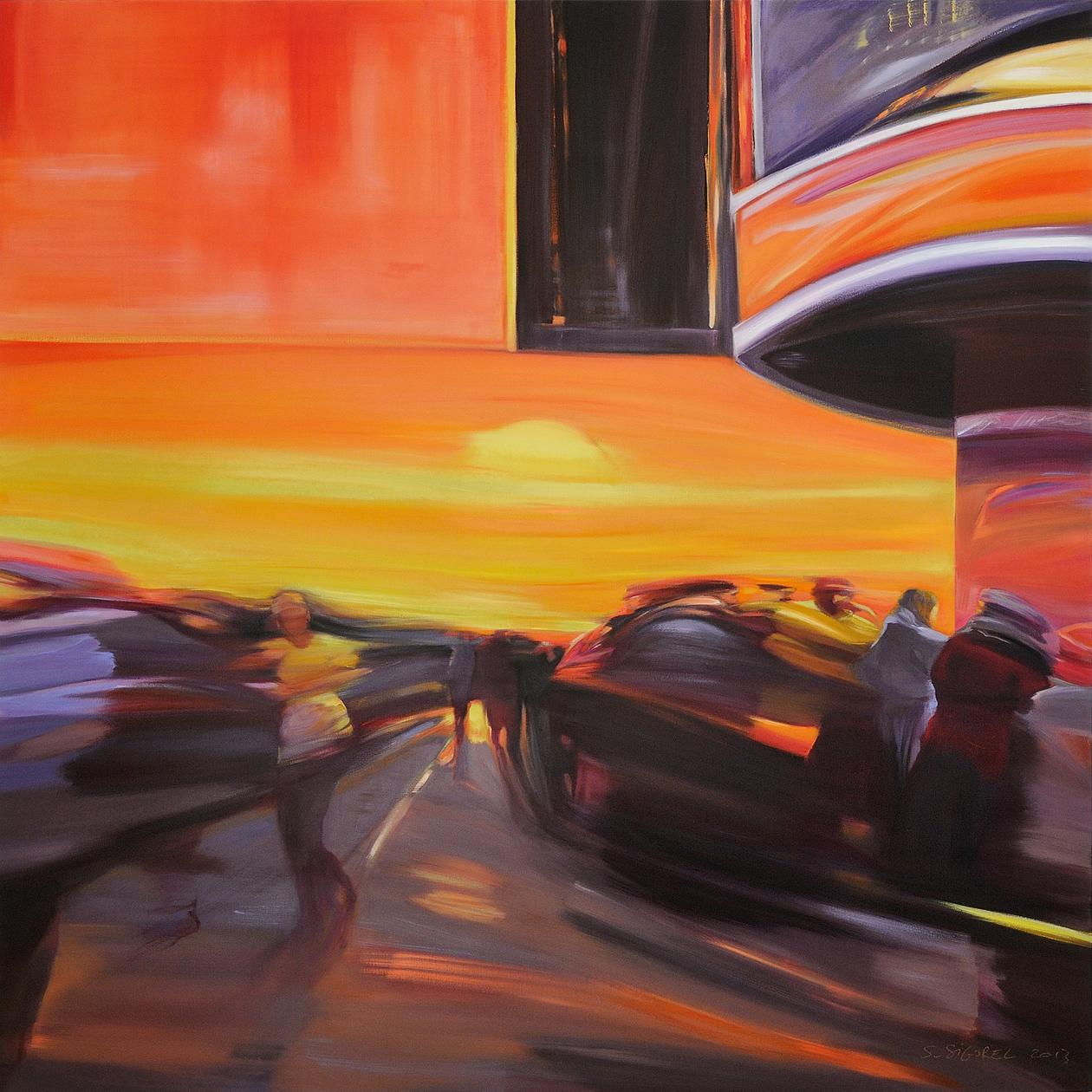 Sophie SIGOREL, Unreal Sun, 2013, huile sur toile, 160 x 160 cm