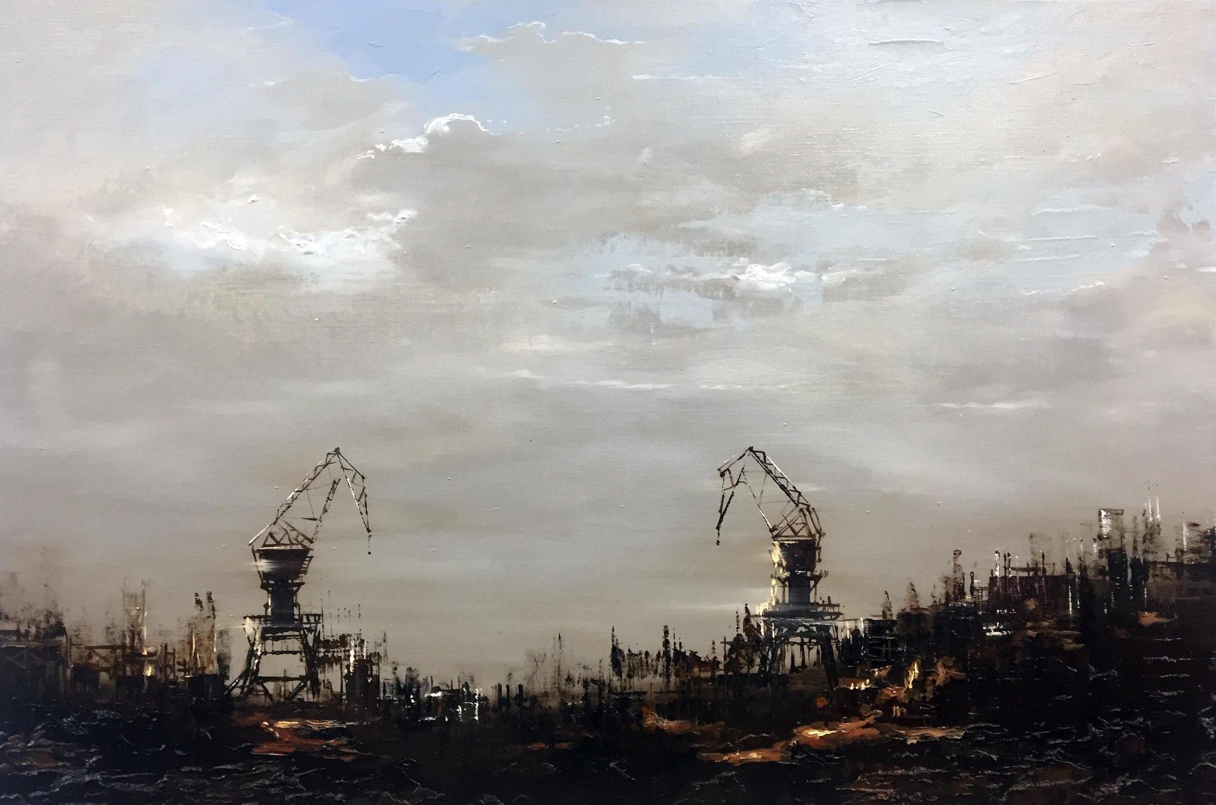 Patrick Bastardoz, Grues (2016), huile sur toile, 54 x 81 cm