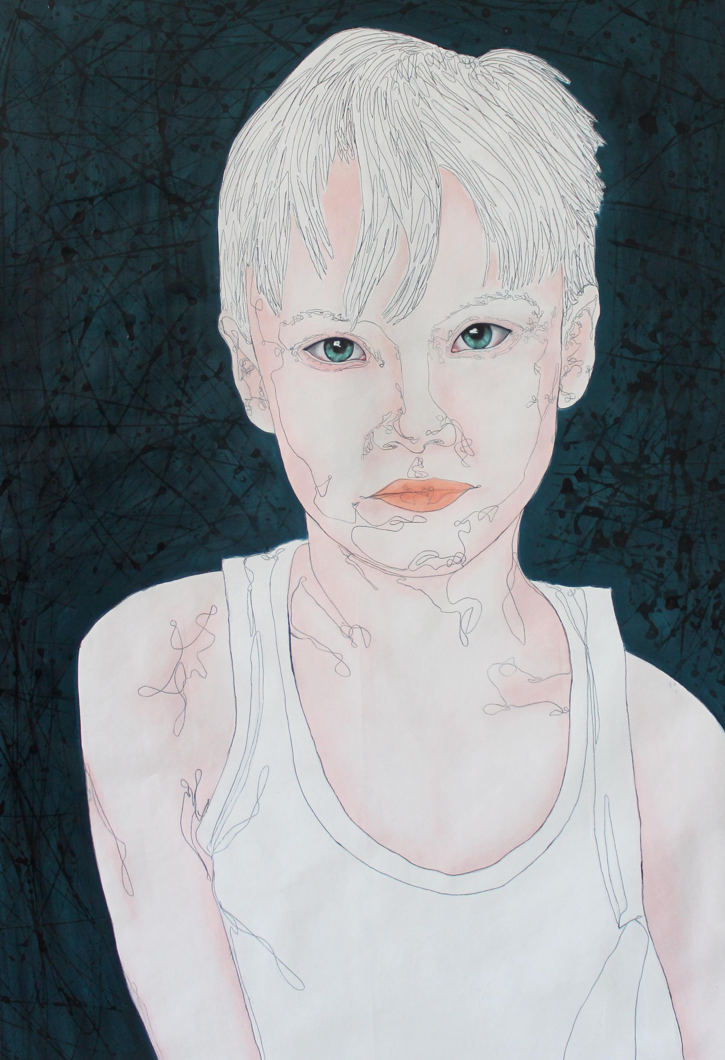Lütfiye Kösten, White (2016), huile sur papier, 100 x 70 cm