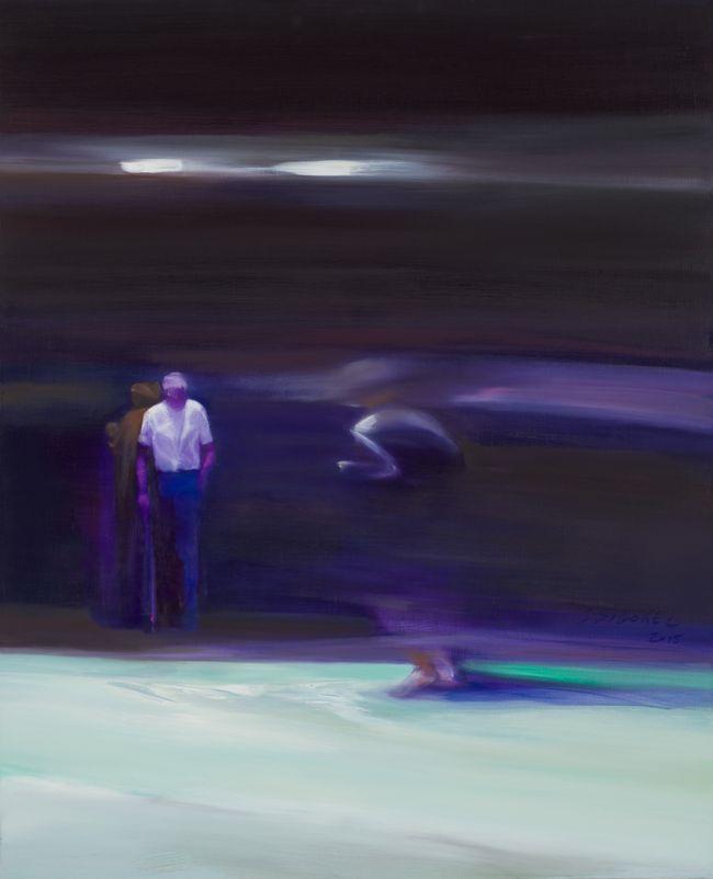 A l'aveugle Huile sur toile 100 x 81 cm