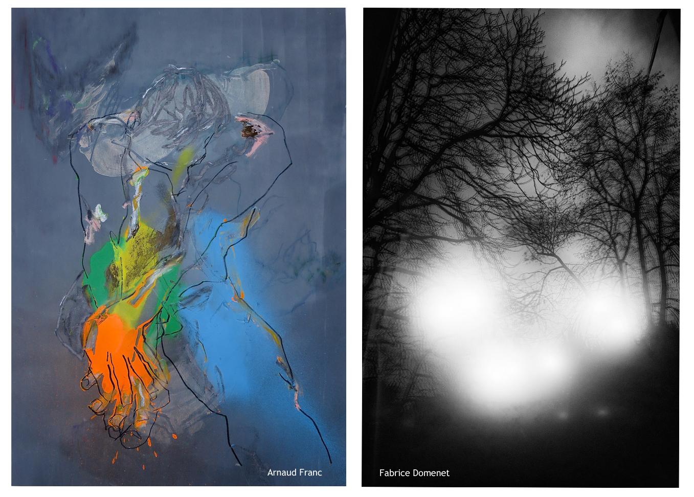 La galerie Mondapart présente « La part dévoilée », un duo plastique mettant en scène le dessin et la peinture d'Arnaud Franc ainsi que la photographie de Fabrice Domenet.  L'œuvre sur papier et toile d'Arnaud Franc (1966) est présentée en permanence à la Galerie Mondapart depuis 2008. Fabrice Domenet y est présenté pour la première fois. Les deux artistes ont récemment collaboré à une performance de découverte plastique grâce à la danse. « Du visible à l'invisible » : performance pour 13 danseurs autour du travail d'Arnaud Franc.  De prime abord, aucune collusion entre le travail d'Arnaud Franc et celui de Fabrice Domenet. La figure, le corps d'un côté, puis la nature de l'autre. Tout est écrit si ce n'est qu'au-delà du sujet et de l'image, il y a l'émotion, les sensations, ce que les artistes transmettent et souhaitent partager. Ce qu'ils donnent à voir et ce qu'ils nous demandent de chercher.  Chez Arnaud Franc l'énergie du mouvement crée des corps peints, en fulgurance. Les contours émergent d'abord, les couleurs explosent ensuite. L'échange avec le modèle vivant préfigure de l'œuvre, dans une chorégraphie puissante de mouvements et de positions éclairées par les demandes de l'artiste. Historiquement danseur interprète, Fabrice Domenet s'est lui aussi depuis toujours consacré à l'art du mouvement, il partage avec Arnaud Franc la grâce et la connaissance du corps dans ses élucubrations sensorielles.  L'expérience physique est également le but recherché dans la photographie de Fabrice Domenet qui « tend à rendre visible la manifestation du non visible sous la forme d'une expérience physique ». Une expérience physique cette fois entre le public, celui qui regarde, et l'œuvre. Les deux artistes partagent cette capacité à manier force et douceur, puissance et sensibilité à la fois. La nature humaine suggérée par Arnaud Franc et la nature arborée de Fabrice Domenet portent en elles une fragilité source d'émotion. Une cinquantaine d'œuvres seront présentées lors de cet