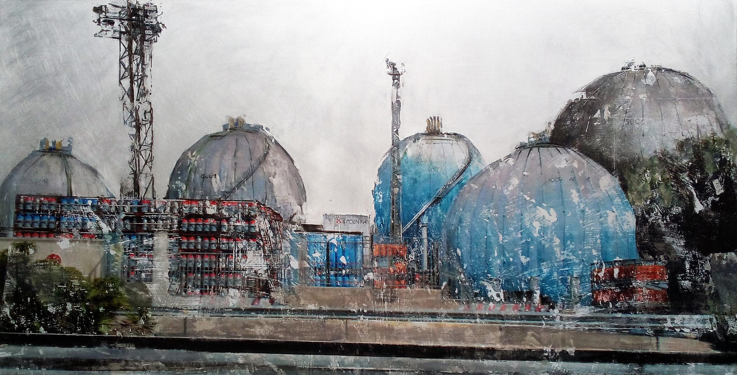 Les dômes bleus technique mixte photographique 40 x 80 cm