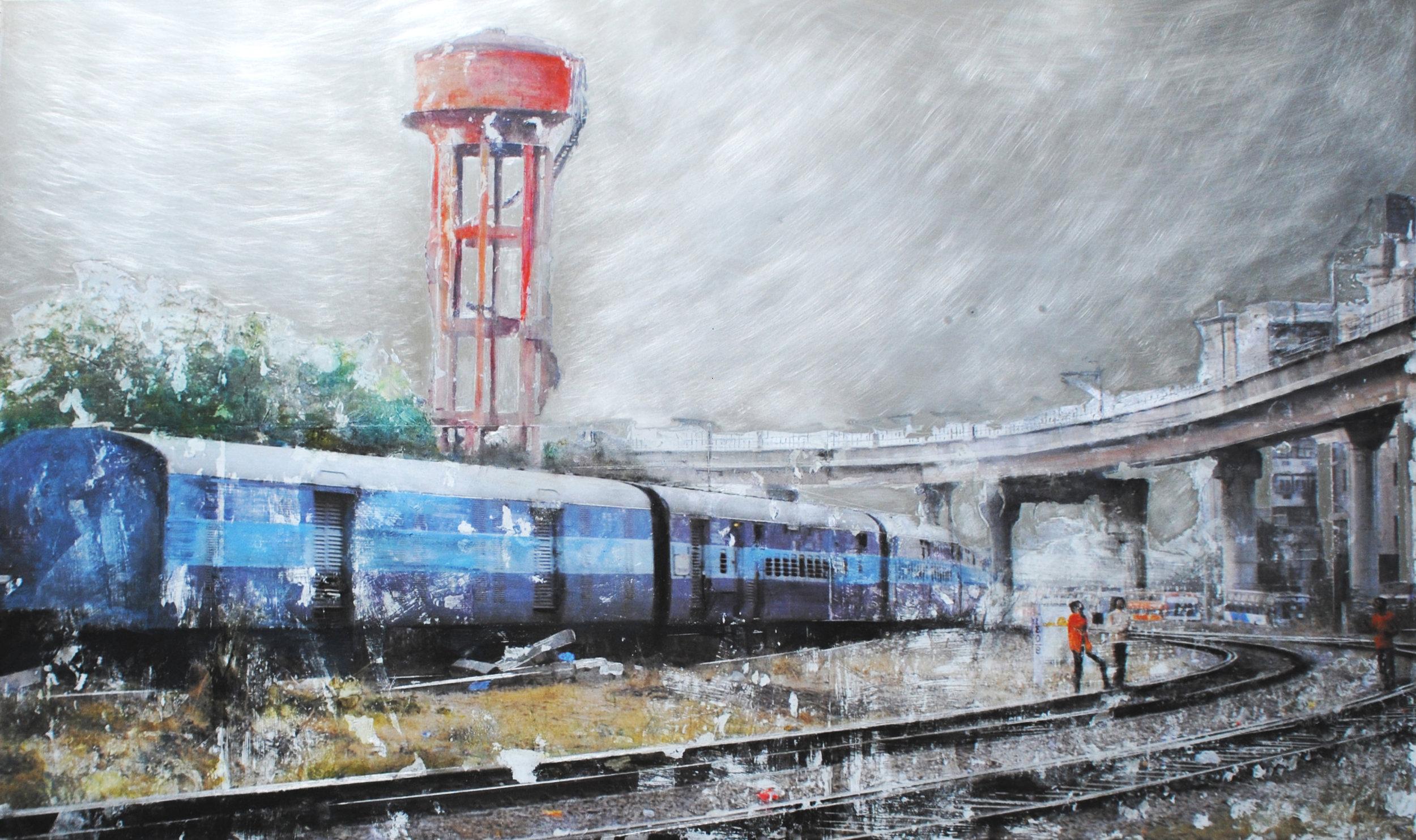 Depart pour Bengalore Jaipur technique mixte sur aluminium 60 x 100 cm