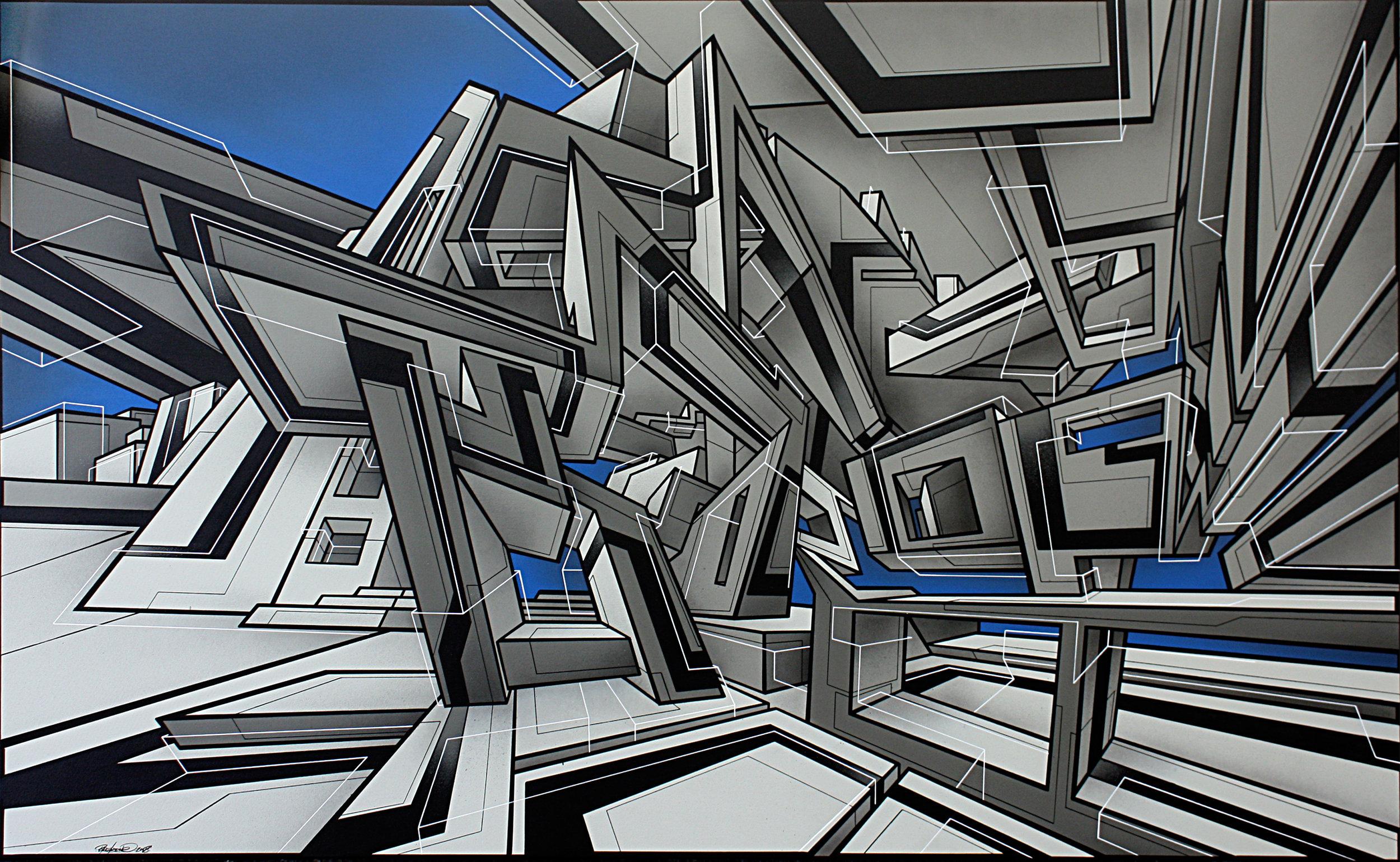 Cosmos 1999 Acrylique et aérosol sur toile 97 x 114 cm