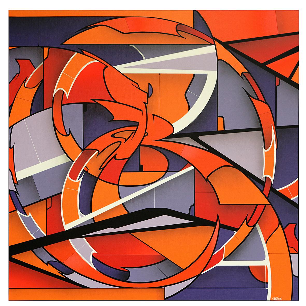 GMTRK-07 acrylique et aérosol sur toile 100 x 100 cm