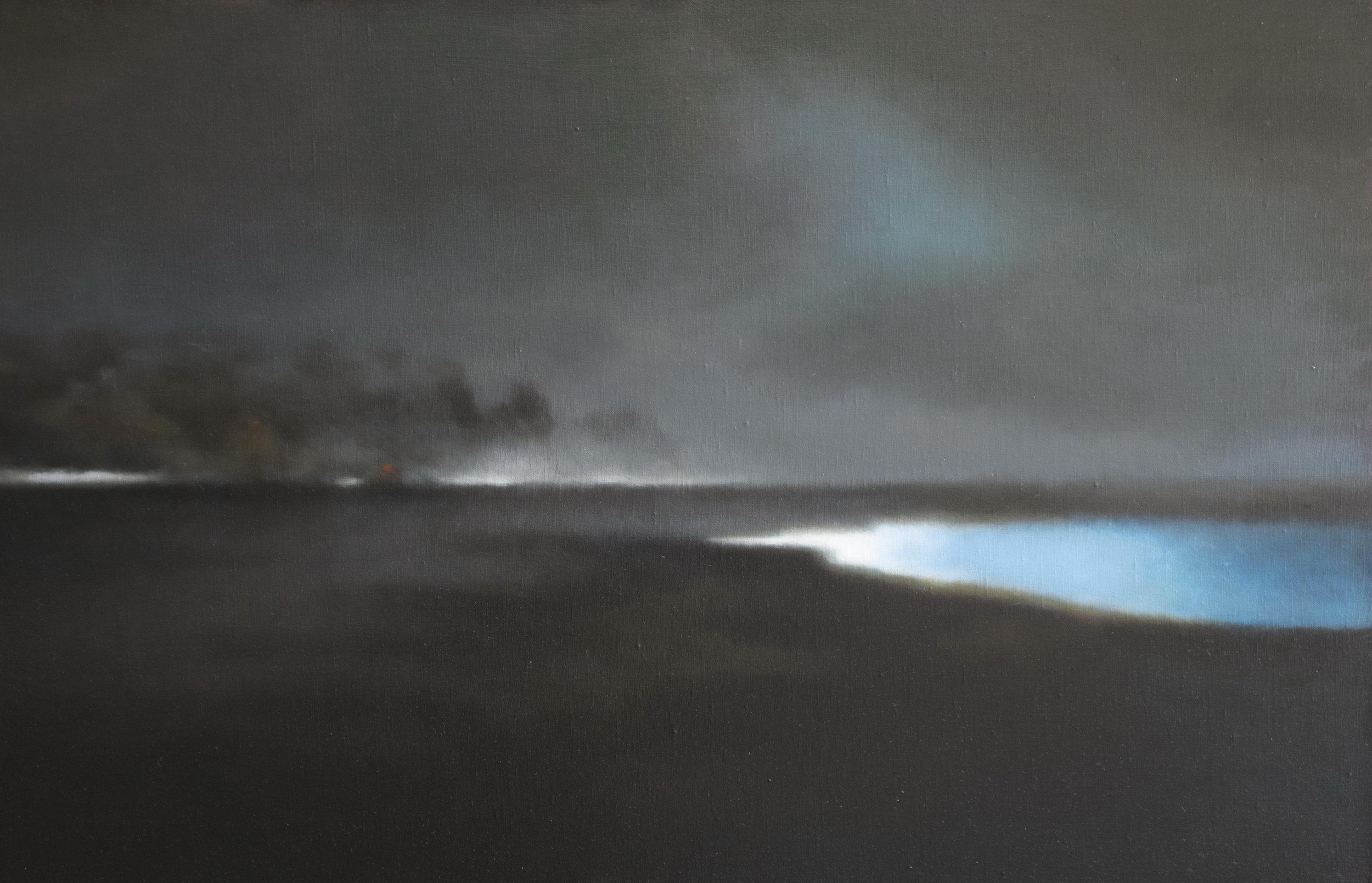 Nuit bleue (2017) huile sur toile 65 x 100 cm
