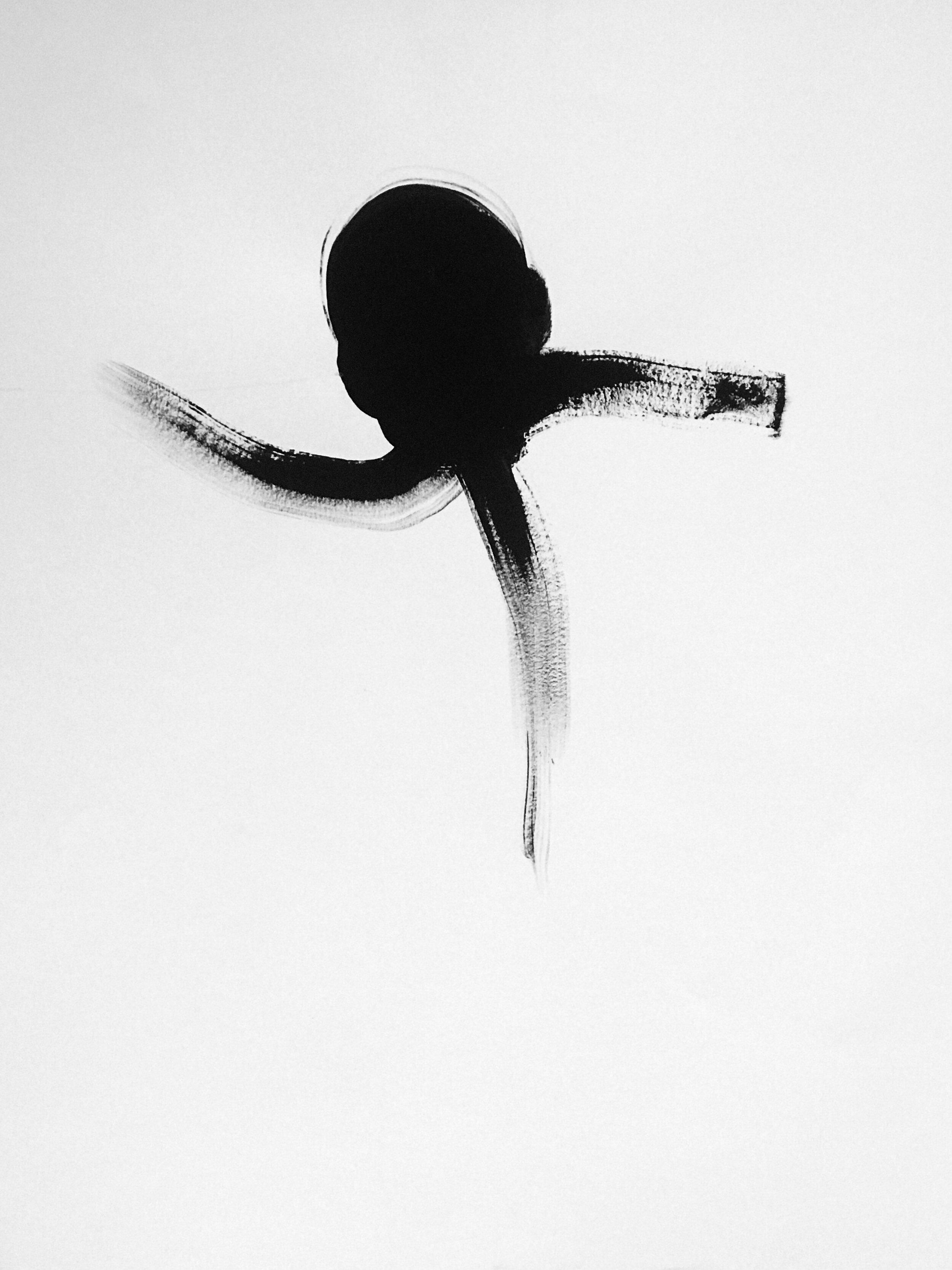 Qui sait ce qui nous passe en tête (2019) Acrylique sur papier 50 x 65 cm