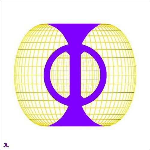 The symbol for phi, or the Golden Ratio, taken as a description of space within a torroidal field. Photo source universaria.net
