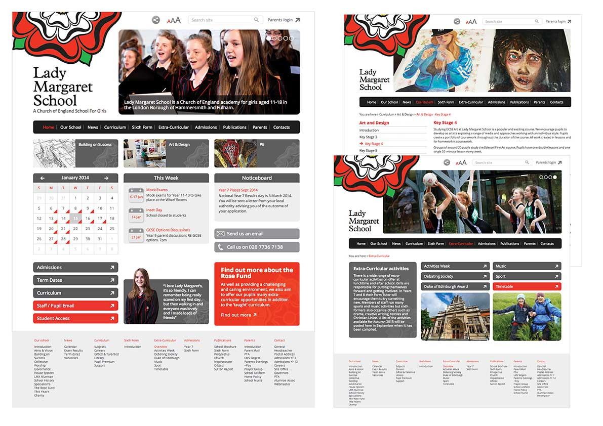 CLIENT:  Lady Margaret School, Parsons Green, London. New website and branding approach including photography   BRIEF:  Design and photography for new school  website , to include an easily updated front page and a user-friendly content management system.