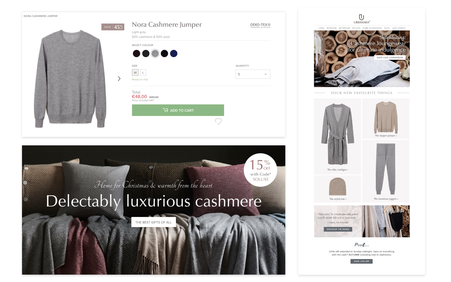 A collection of assets for a cashmere collection launch and sales campaign.