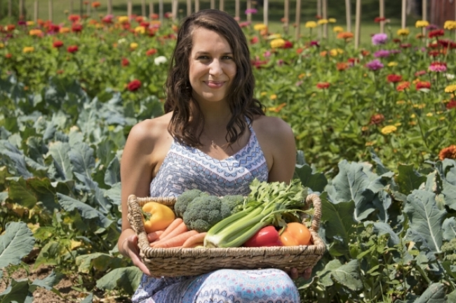 Foundation Wellness Resident Dietitian Amy Fenzel at S.E. Daugherty & Sons Farm
