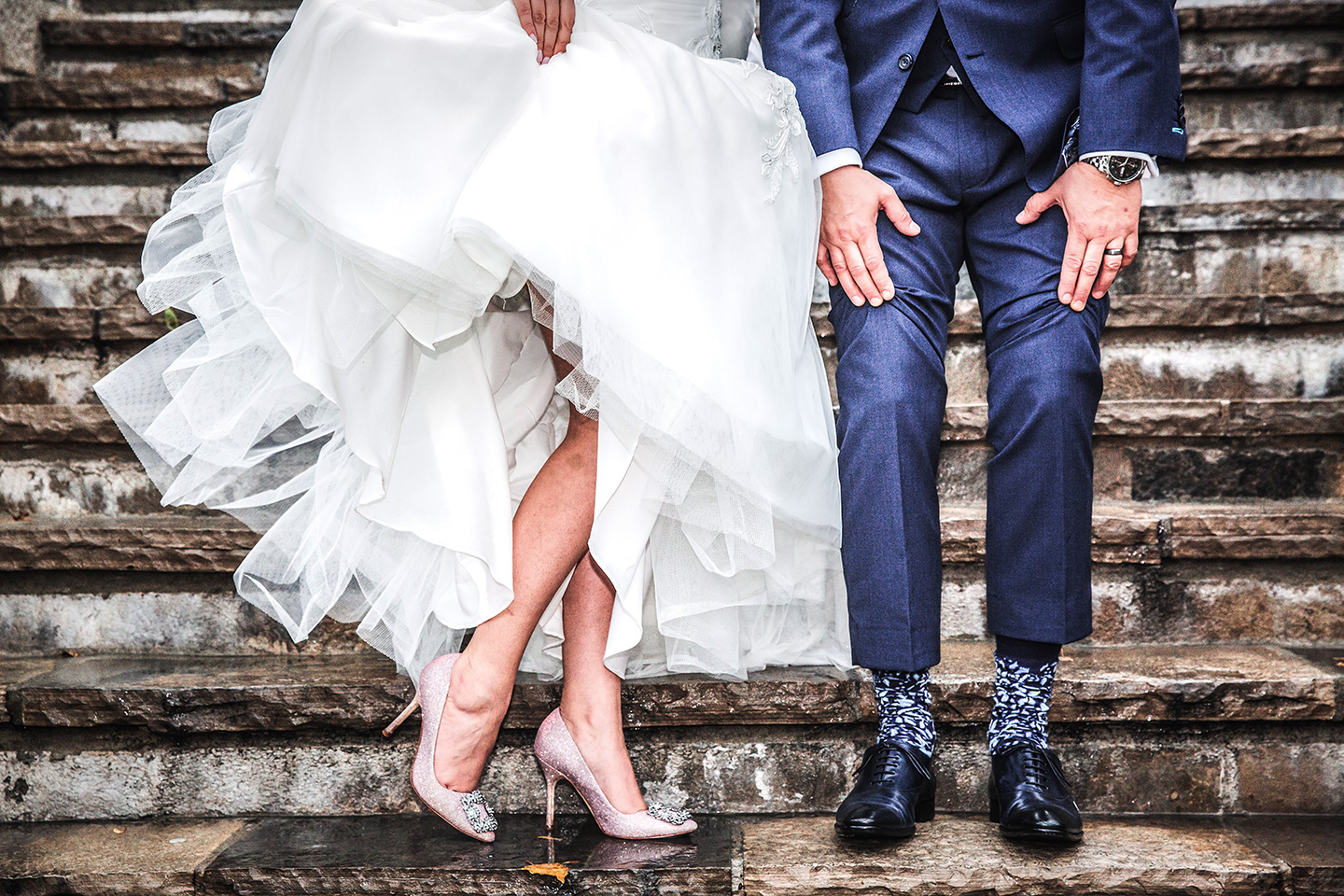 Bride and Groom show off their bottom half