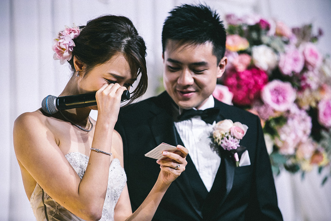 She cries because the groom looks so good