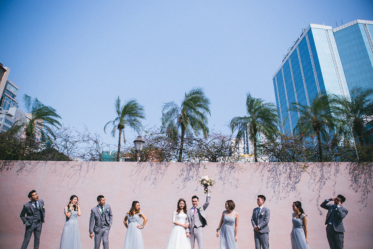 Bridal group looking dapper in grey suits