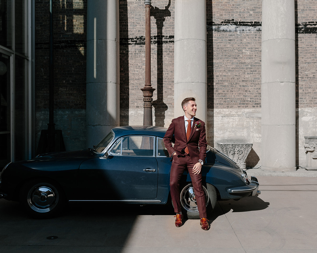 Burgundy suit by Wedding GPS