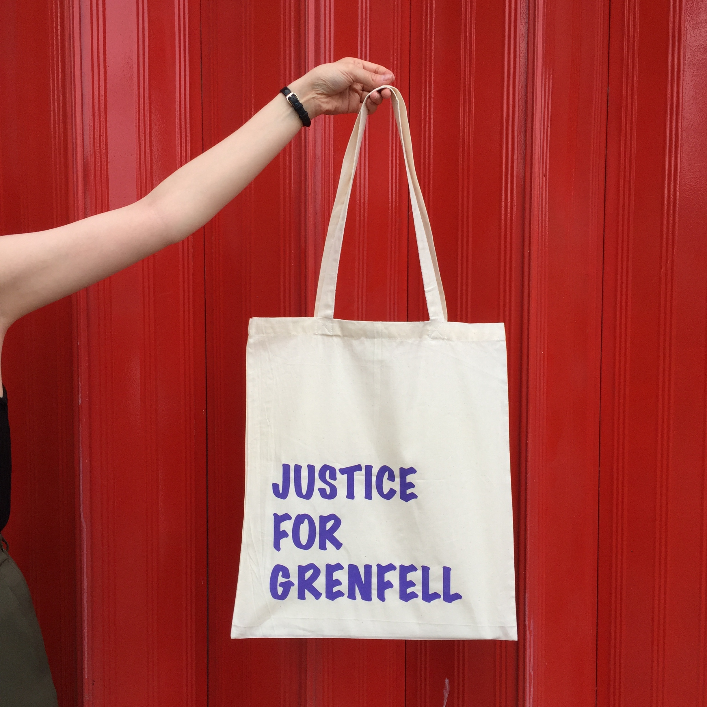 Justice for Grenfell   100% cotton hand screenprinted charity totebags - made in collaboration with Ann-Marie Rayney. All the materials used in making these totebags were donated and every penny (excluding P&P)  will go back to those affected via Just Giving.  More colours available