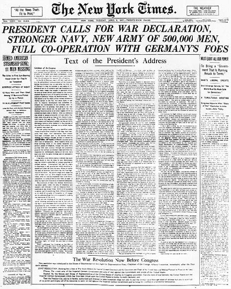 New York Times headline from April 6th 1917