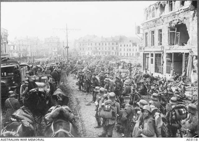 German reserves advancing through St Quentin during 'Operation Michael', March 1918