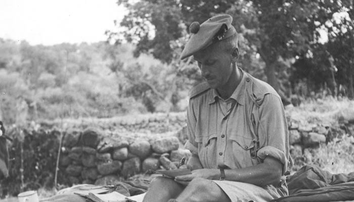"Major J.D. Forin, Battalion Second in Command. The official caption states: ""Life in Sicily with the Seaforth Highlanders of Canada is here reported on for his relatives by Major J.D. Forin."" Date - 23 Aug 1943, Operation Static."