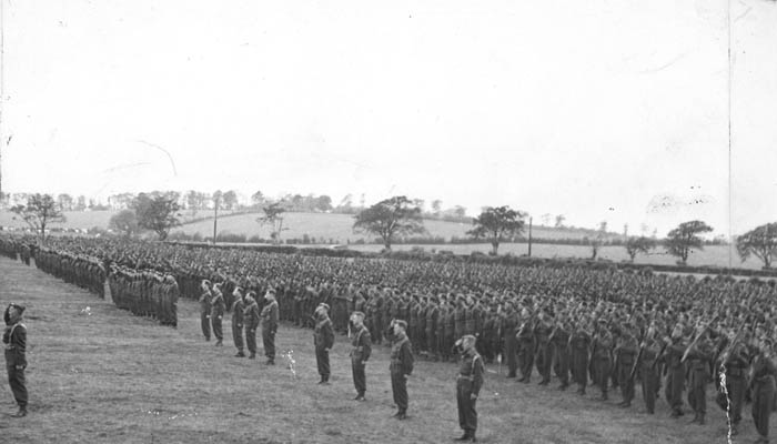 The 1st Cdn Division (including the Seaforths) on parade before their departure to Sicily.
