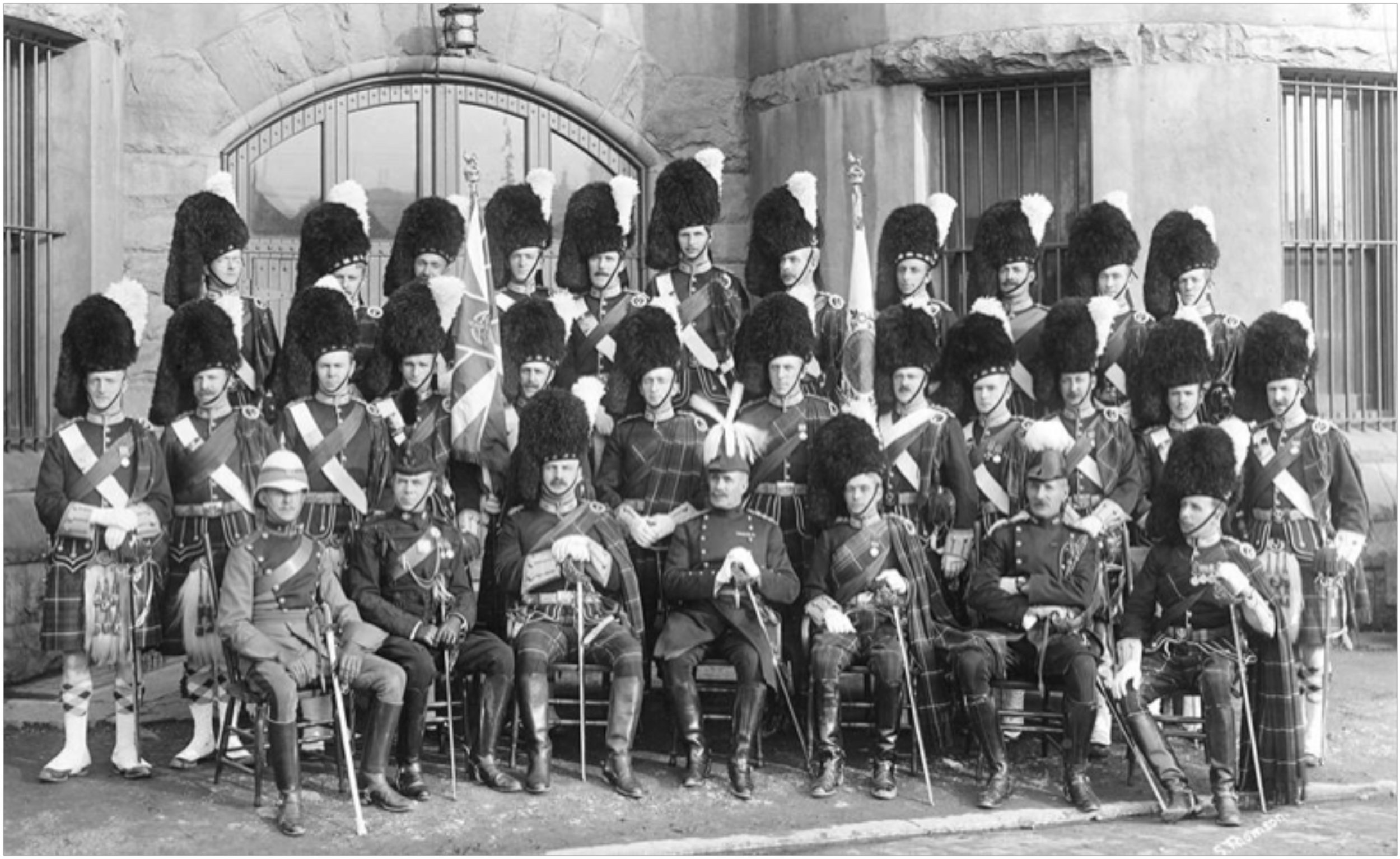 Officers of the 72nd Regiment 'Seaforth Highlanders of Canada' in 1913. Lieutenant Roderick O. Bell-Irving is standing in the back row, very left. City of Vancouver Archives, Item AM54-S4-: Mil P225.