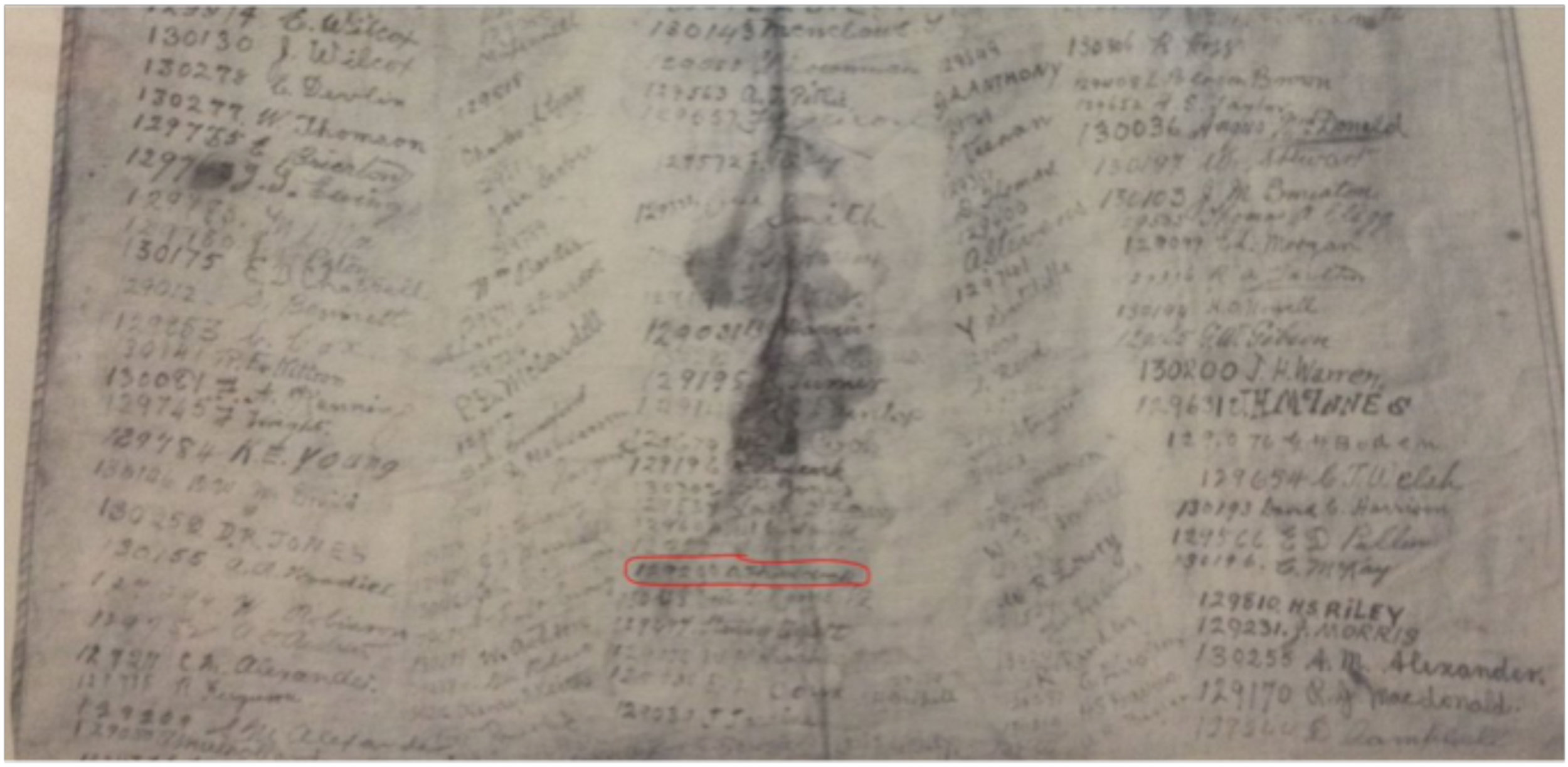 Kilt apron, close up showing the location of Private Arthur Forbes Ruddock's signature.