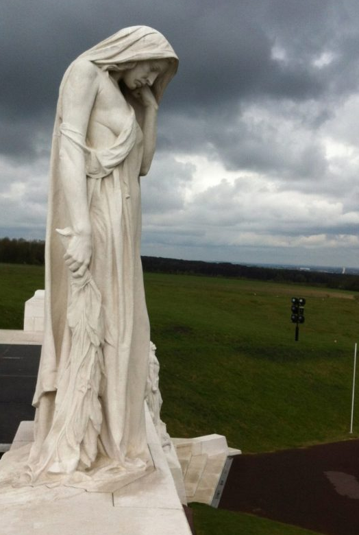 Mother Canada, part of Canadian National Memorial, looks down at the battlefield where approximately 3600 Canadian soldiers died 95 years ago. - Photo by Steve Bartlett/The Telegram
