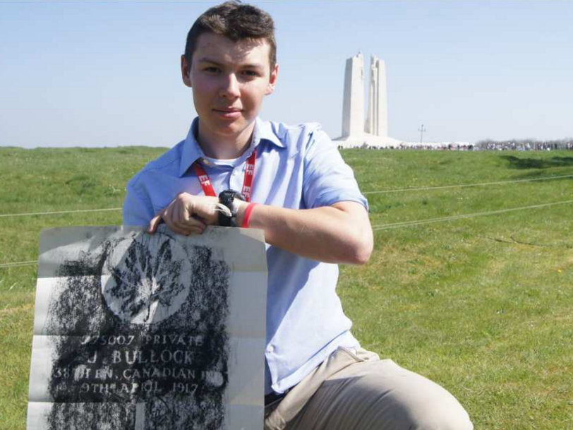 Caden Ward, 17, holds a grave rubbing he made near Arras, in France, for Private John Bullock, who died on day one of the Battle of Vimy Ridge on April, 9, 1917.      DAVID CARRIGG  /  PNG