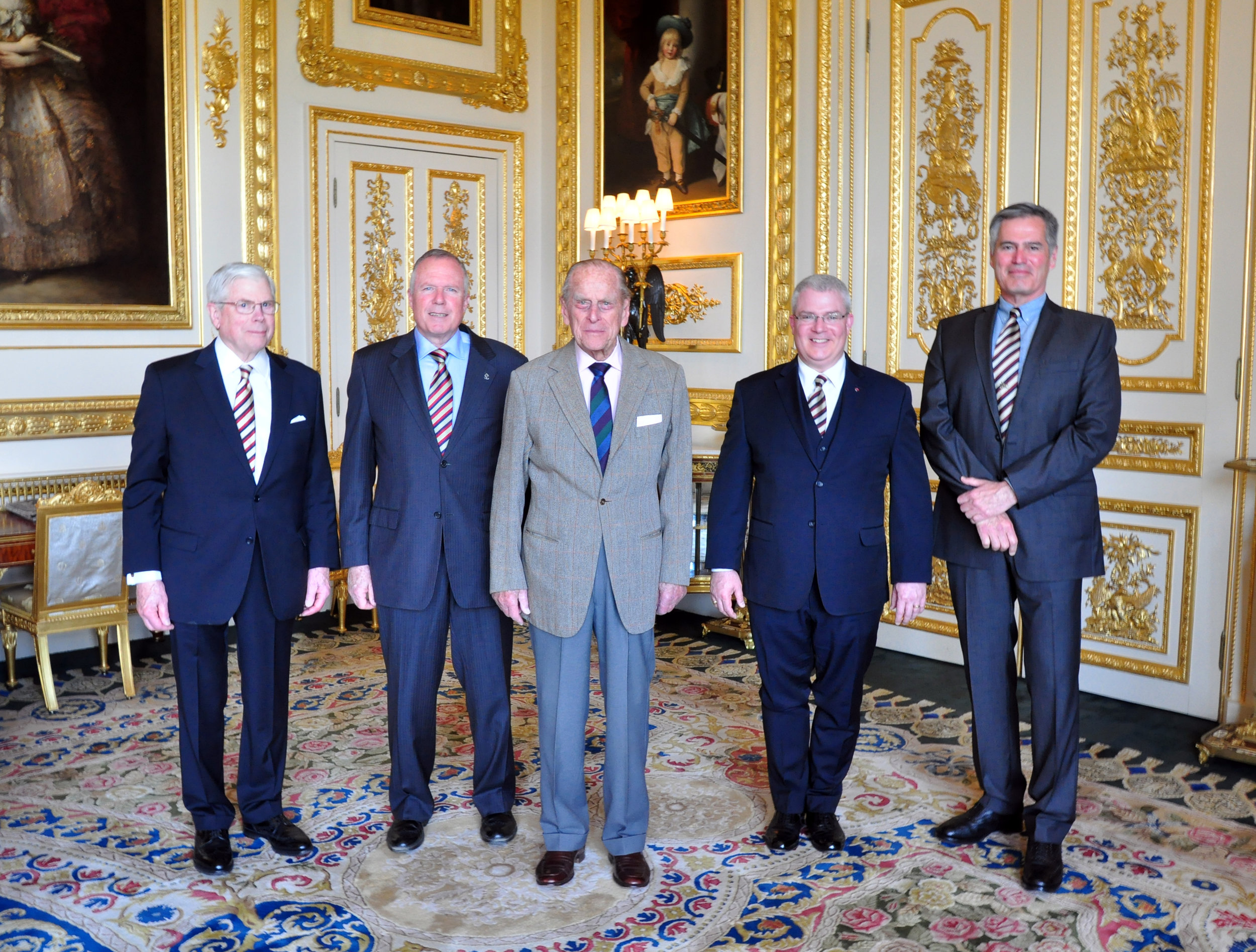 From left to right Honorary Colonel Michael Shields, Honorary Lieutenant Colonel Rod Hoffmeister, HRH Prince Philip, the Duke of Edinburgh, Lieutenant Colonel Paul Ursich, Regimental Sargent Major John O'Connor.