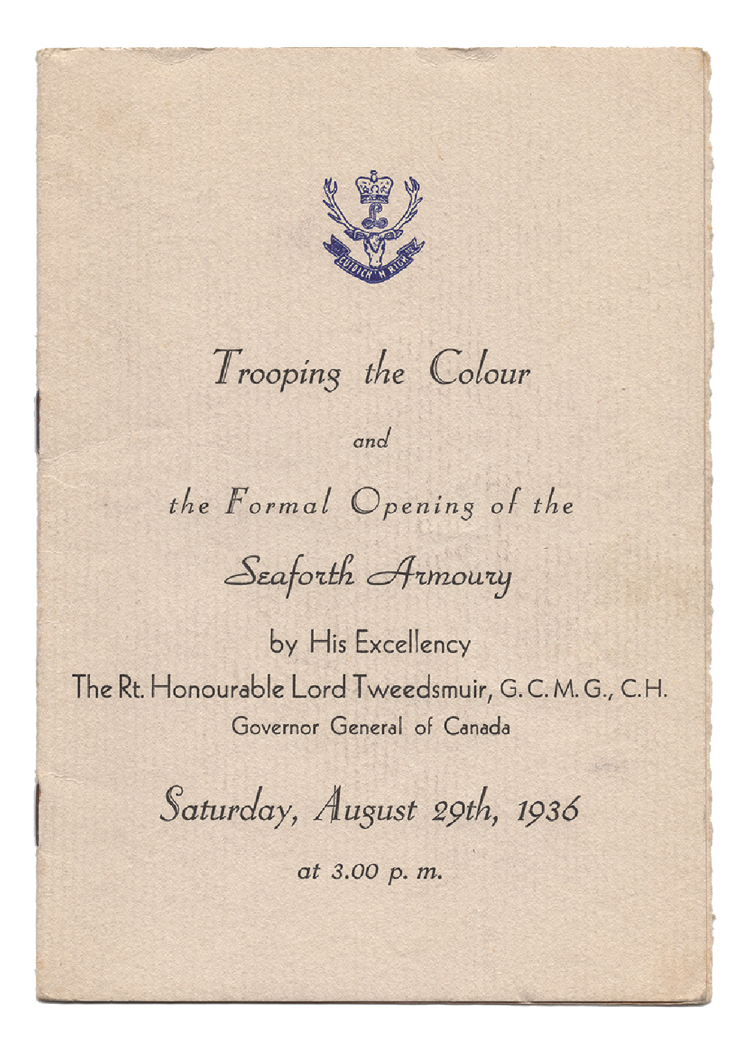 The program for the formal opening of the Seaforth Armoury.