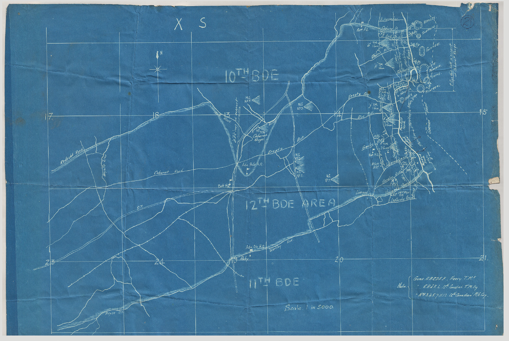 The boundaries of 12 Brigade's sector at Vimy. The 72nd Battalion was on the Brigade's left flank and established dominance over both Ersatz and Montreal craters.
