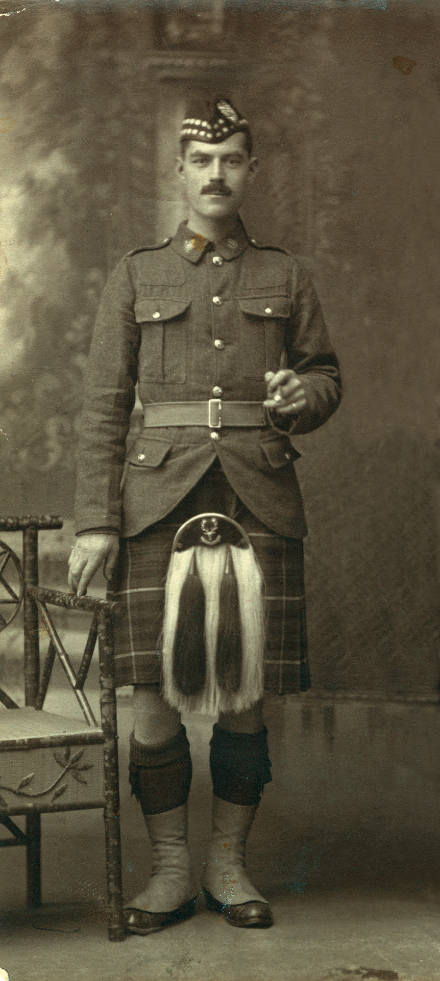 "Malcolm McLeod was born in Stornoway, on the Isle of Lewis in Scotland, in 1888. He served for six years with the 3rd Battalion, Seaforth Highlanders (Ross-shire Buffs, The Duke of Albany's), before emigrating to Canada and joining the 72nd Seaforth Highlanders of Canada during the First World War. An original who served in France with the battalion from August of 1916, McLeod was severely wounded at Vimy Ridge. Shot in the neck, back, buttock and foot, he was slipping in and out of consciousness and presumed dead. When he heard troops clearing the battlefield of dead say, ""I guess we have room for one more"" he summoned the strength to groan. Malcolm would spend the next year in and out of hospitals, undergoing multiple operations to remove bullet fragments and shrapnel, before coming home to Canada and being discharged in May of 1918. For his actions at Vimy Ridge, Malcolm McLeod was cited for conspicuous gallantry."