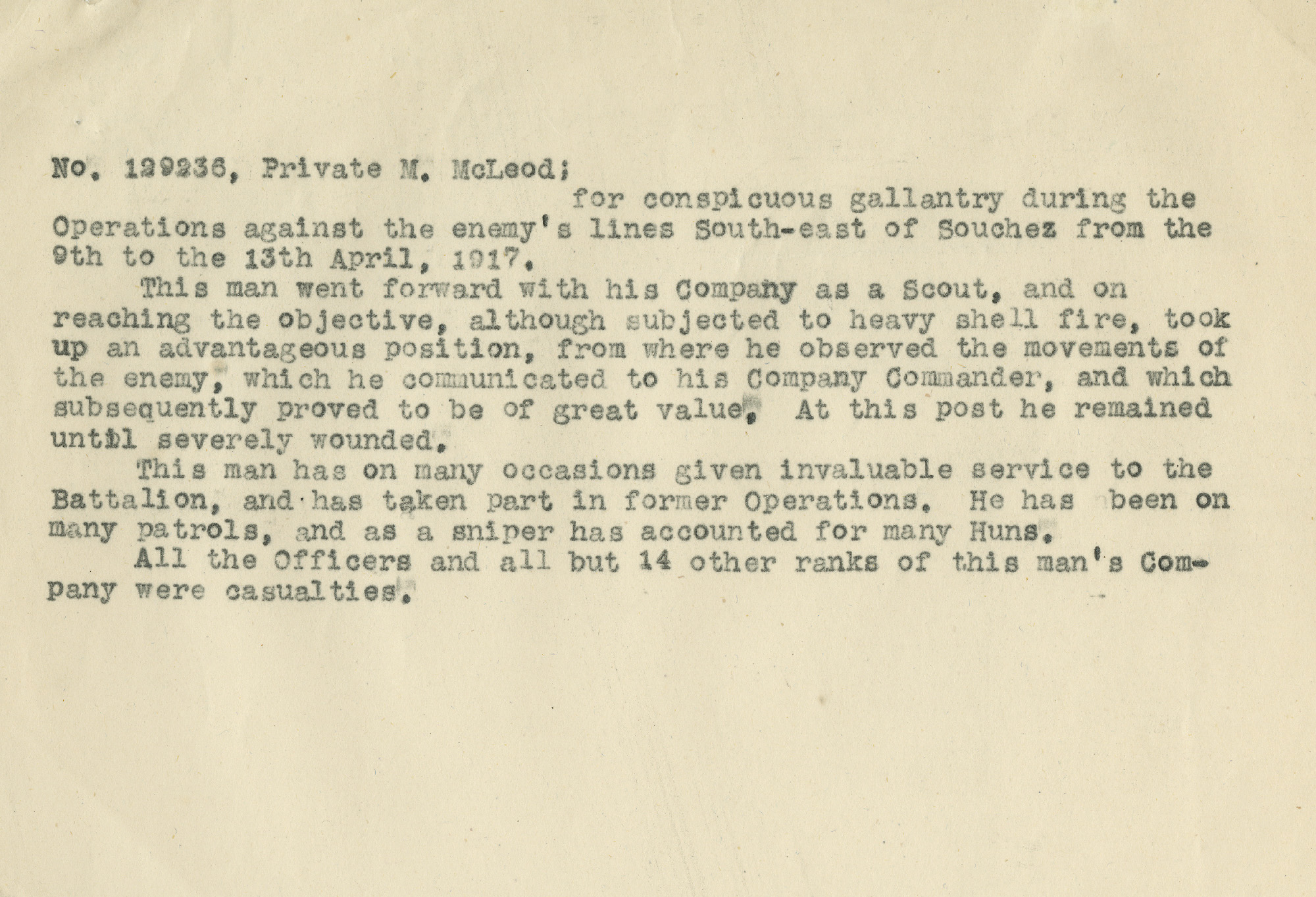 The 72nd Battalion's original citation for Private Malcolm McLeod.