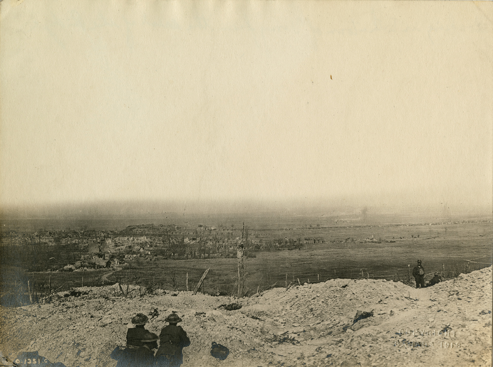 Looking into the town of Vimy from the crest of the Ridge.