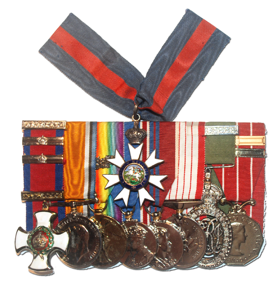 Medal Bar (from left to right): DSO (Distinguished Service Order) with two bars, British War Medal, Victory Medal with MID (Mentioned in Despatches) oak leaf, George VI Coronation Medal (1937), Elizabeth II Coronation Medal (1953), Canadian Centennial Medal (1967), VD (Colonial Auxiliary Forces Officer's Decoration), Canadian Forces Decoration with two bars.