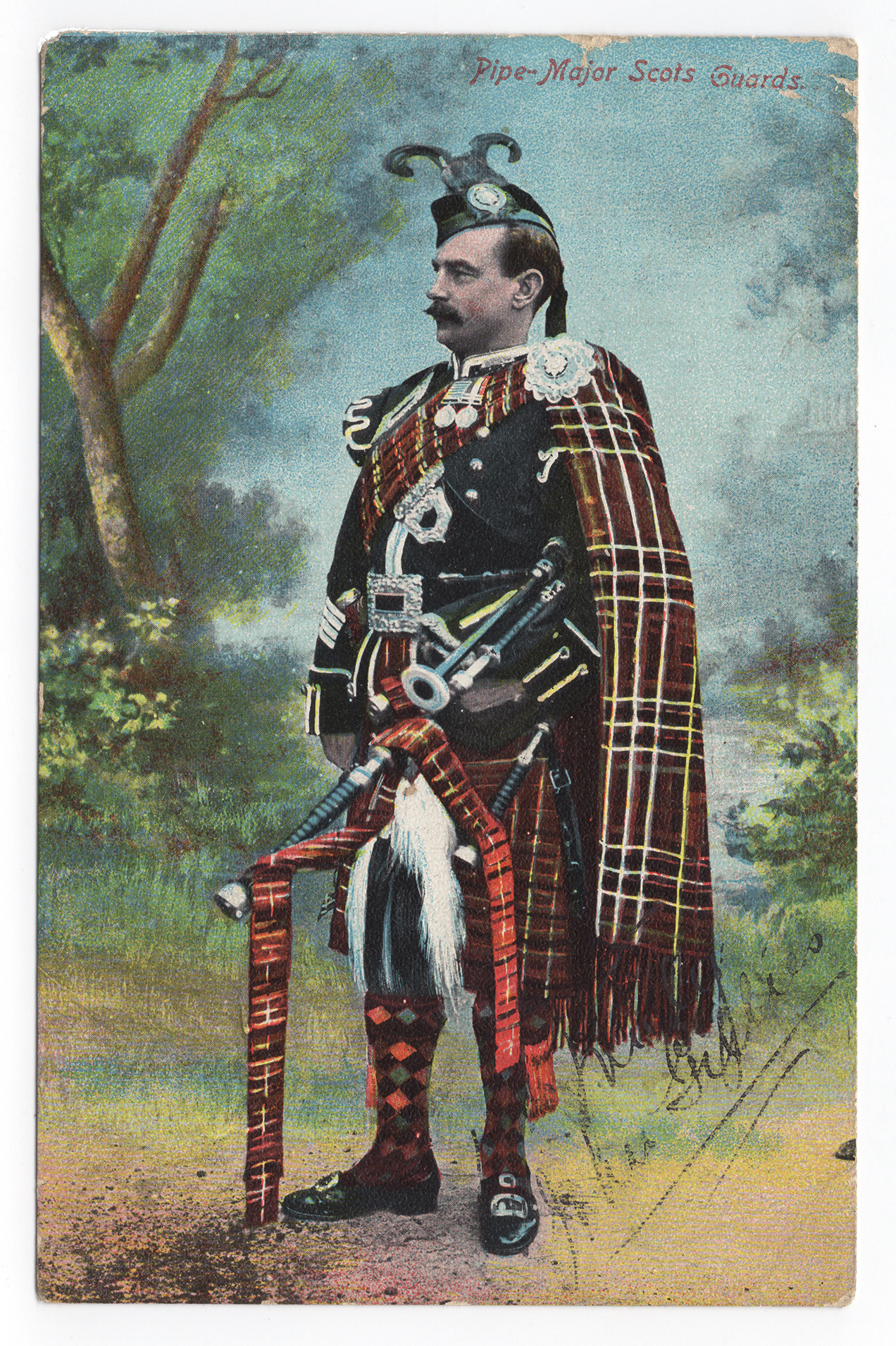Postcard circa 1907-1910, signed by Gillies, after he became pipe-major of the 1st Battalion Scots Guard.