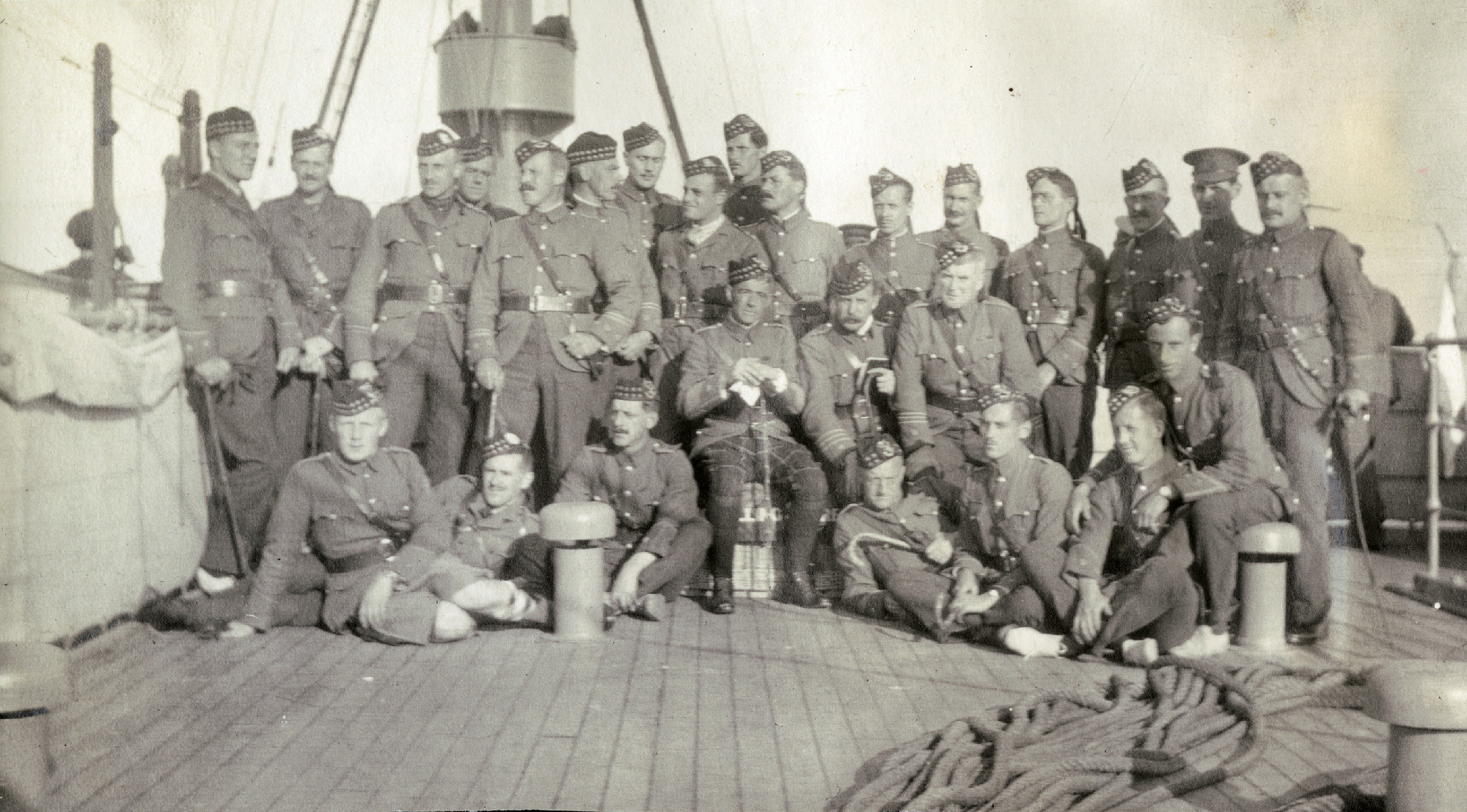 The Seaforth officers serving in the 16th Battalion (Canadian Scottish) on the troopship Andania en route to Egnland with the 1st Canadian Division, October, 1914.