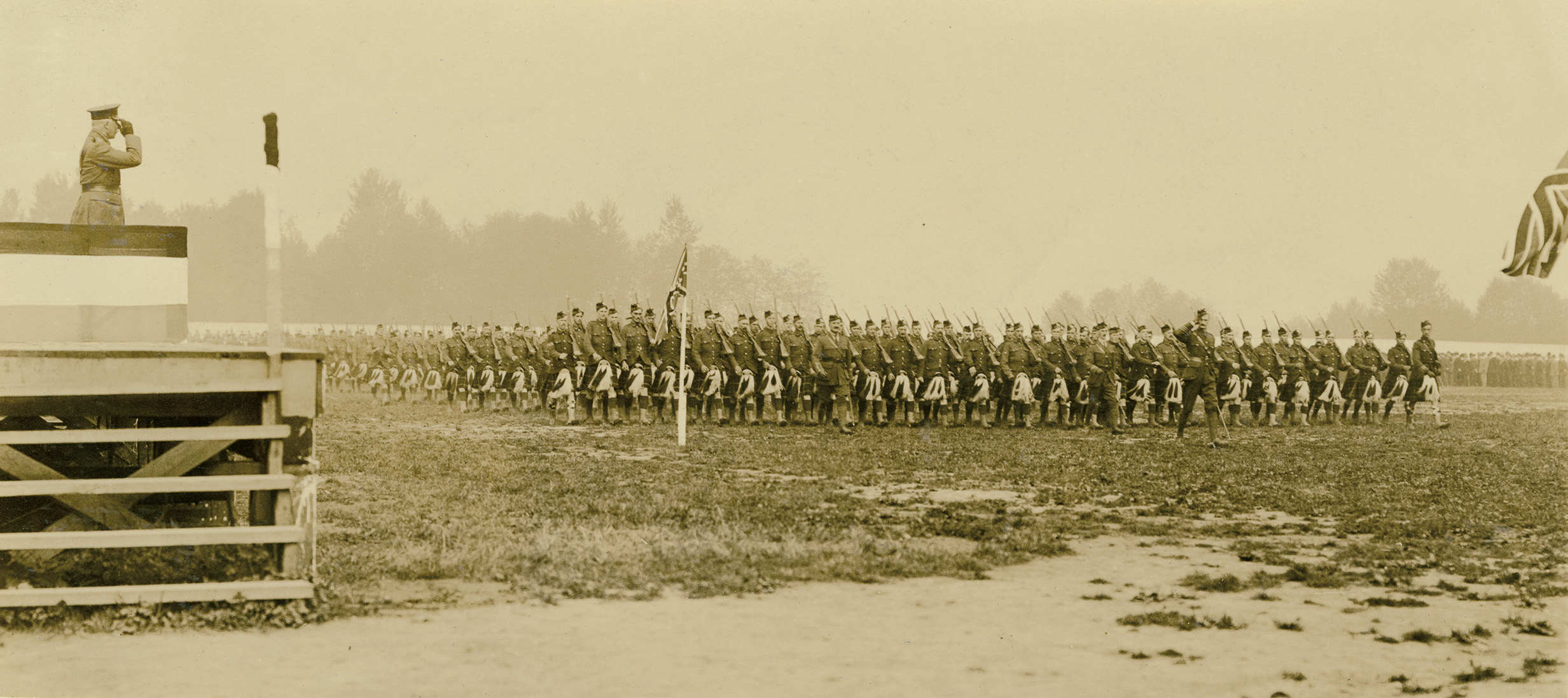 H.R.H. The Duke of Connaught, taking the salute during an inspection of the 72nd Battalion Seaforth Highlanders, at Hastings Park on September 16th, 1915. These recruits were received by the unit only twelve days earlier, on September 4th.