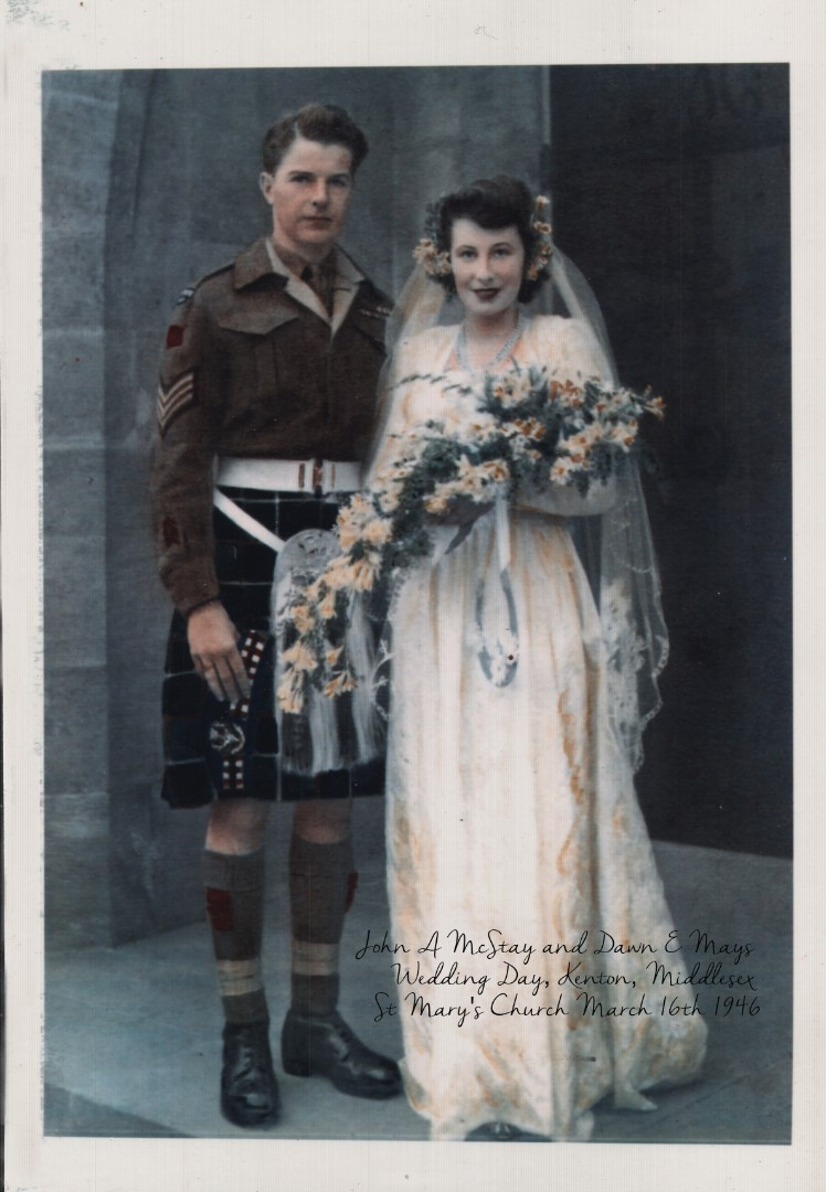 John H McStay and Dawn E Mays Wedding Day, Kenton, Middlesex, St Mary's Church March 16th 1946