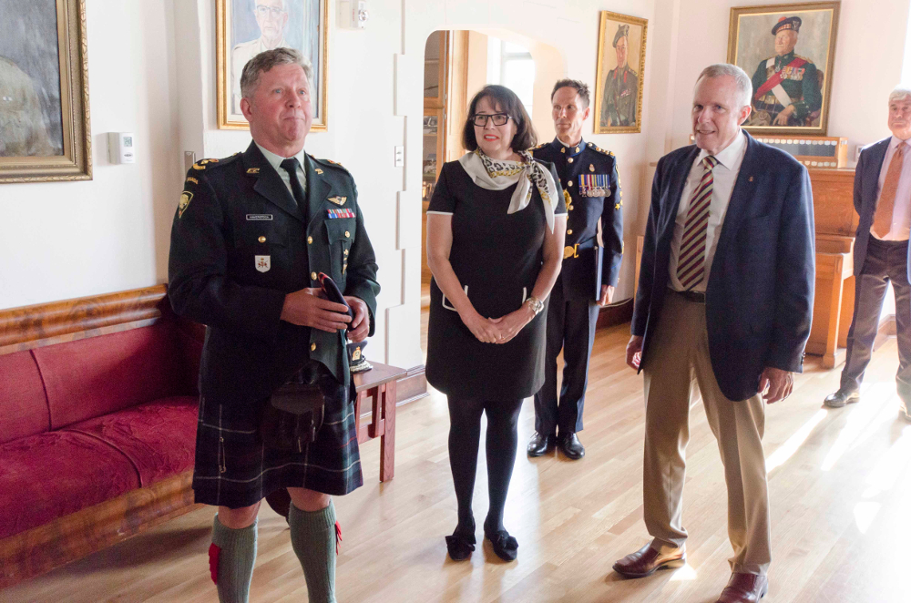 LCol Ed Haverstock (L) and HCol Rod Hoffmeister (R) welcome the Honourable Janet Austin, OBC Lieutenant Governor of British Columbia to the Officers' Mess, Seaforth Armoury