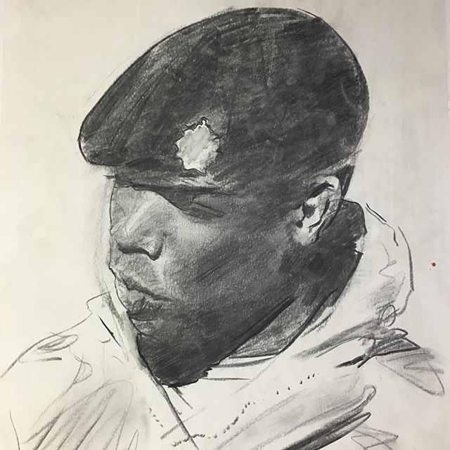 #drawing of a #soldier #Charcoal #portrait #military #headstudy #stronglight #charcoalonpaper #warartist