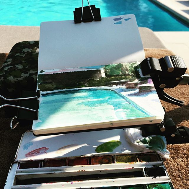 #poolside #sketch #holiday #cotedazur #watercolour #relaxing #hotandsunny