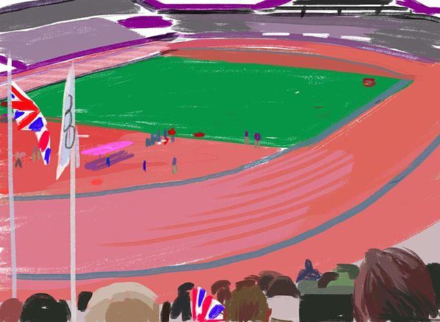 I'm enjoying #olympics #rio2016 memories of #london2012 #ipadart #sketch of #athletics from the #olympicstadium