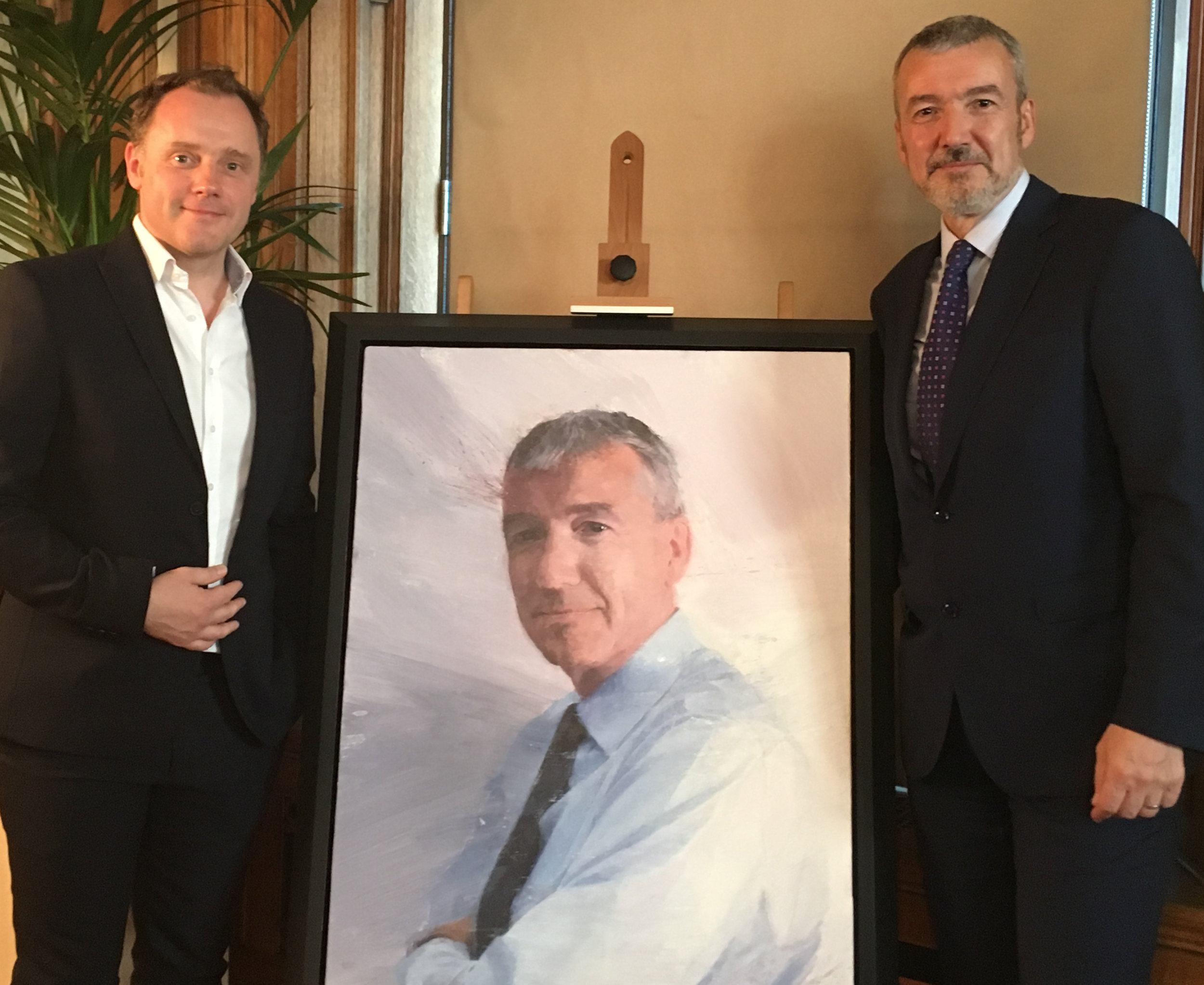 Myself and David Nish with his portrait at the unveiling
