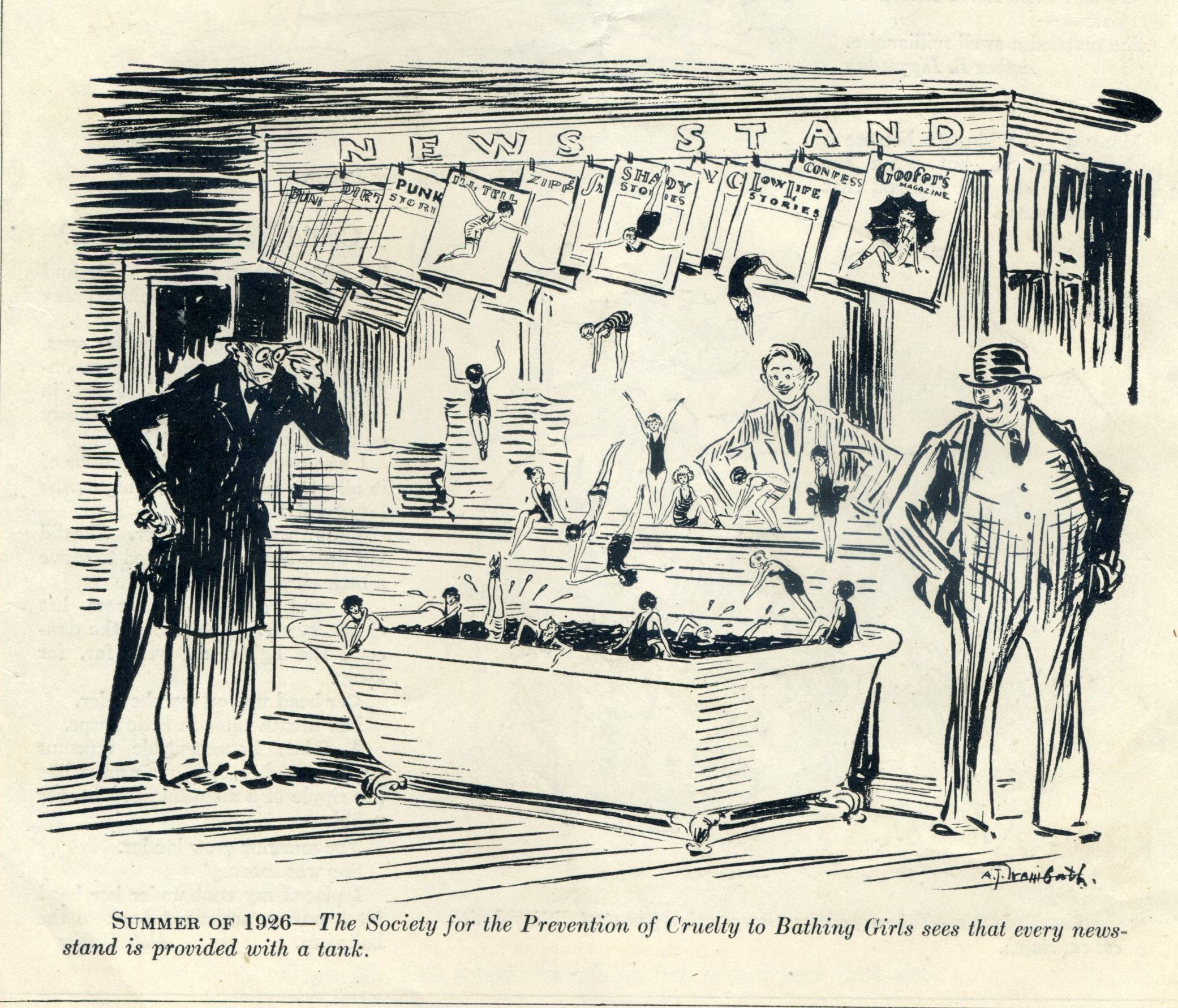 """a 1925 cartoon in Judge Magazine commenting on the many """"snappy"""" magazines on the newsstand"""