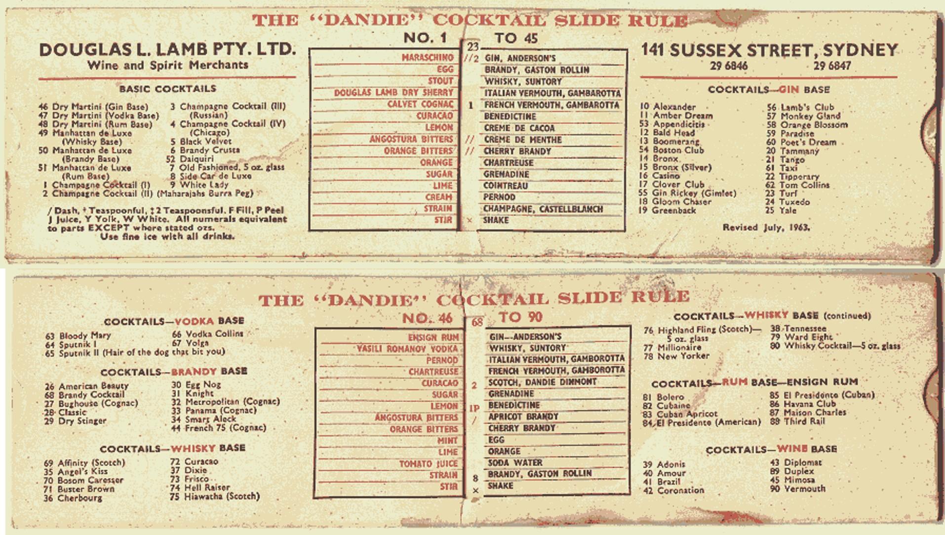 """The """"Dandie"""" Cocktail Slide Rule"""
