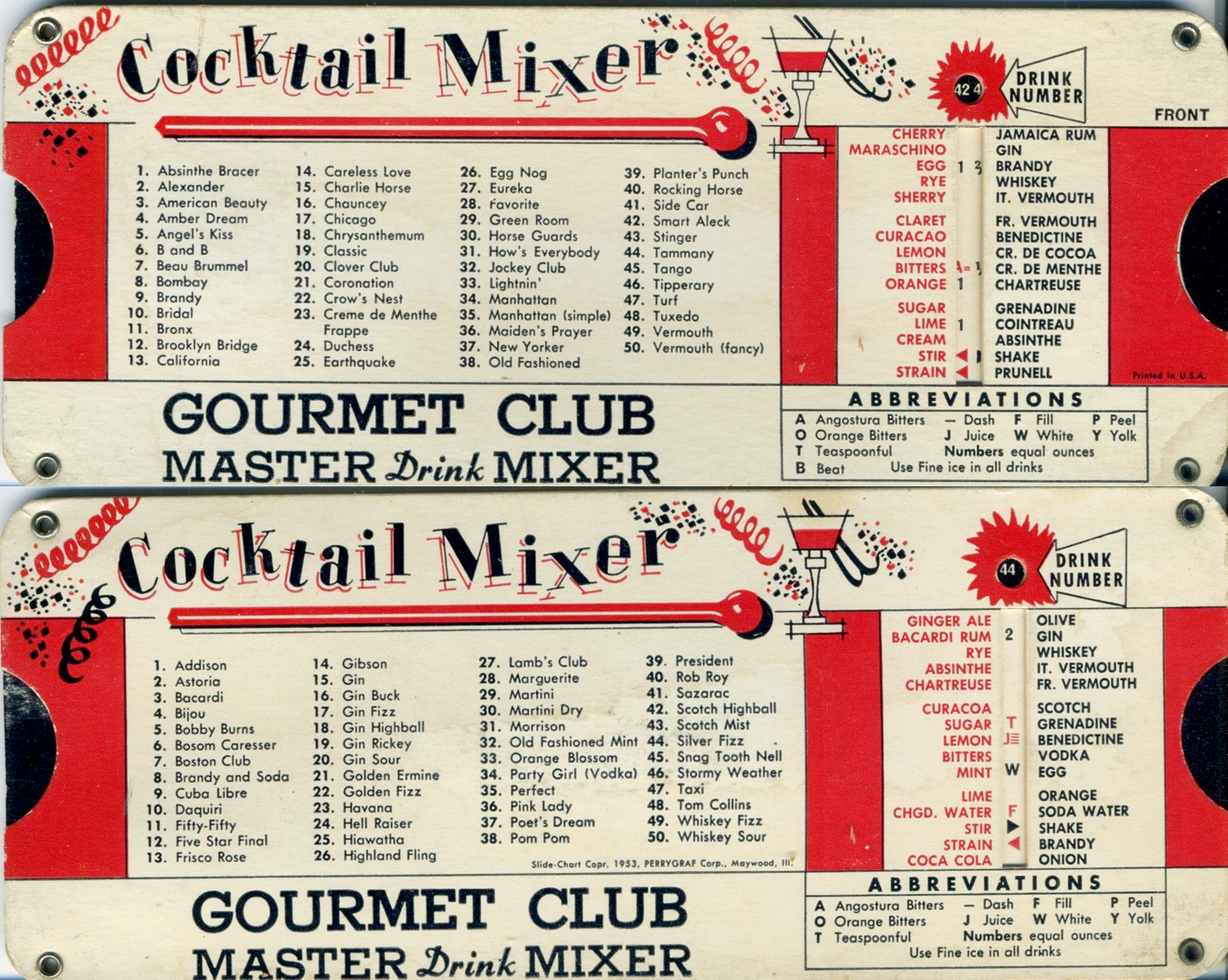 The Cocktail Mixer slide-rule, copyright 1953