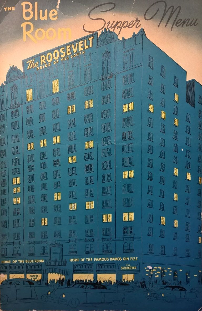 The Menu for the Blue Room at the Roosevelt Hotel, August 1959